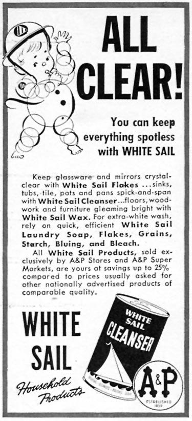 A & P WHITE SAIL CLEANSER WOMAN'S DAY 06/01/1943 p. 60