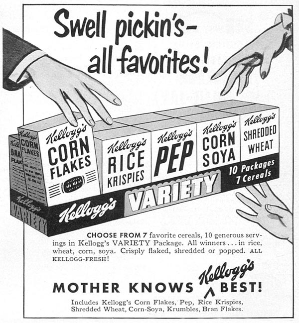 KELLOGG'S VARIETY PACKAGE WOMAN'S DAY 09/01/1949 p. 105