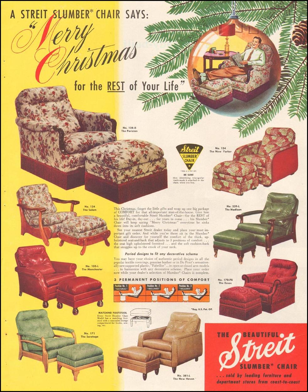 STREIT SLUMBER CHAIR LADIES' HOME JOURNAL 11/01/1950 p. 123