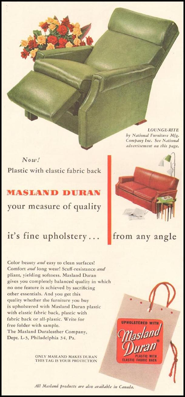MASLAN DURAN UPHOLSTERY LADIES' HOME JOURNAL 03/01/1954 p. 118