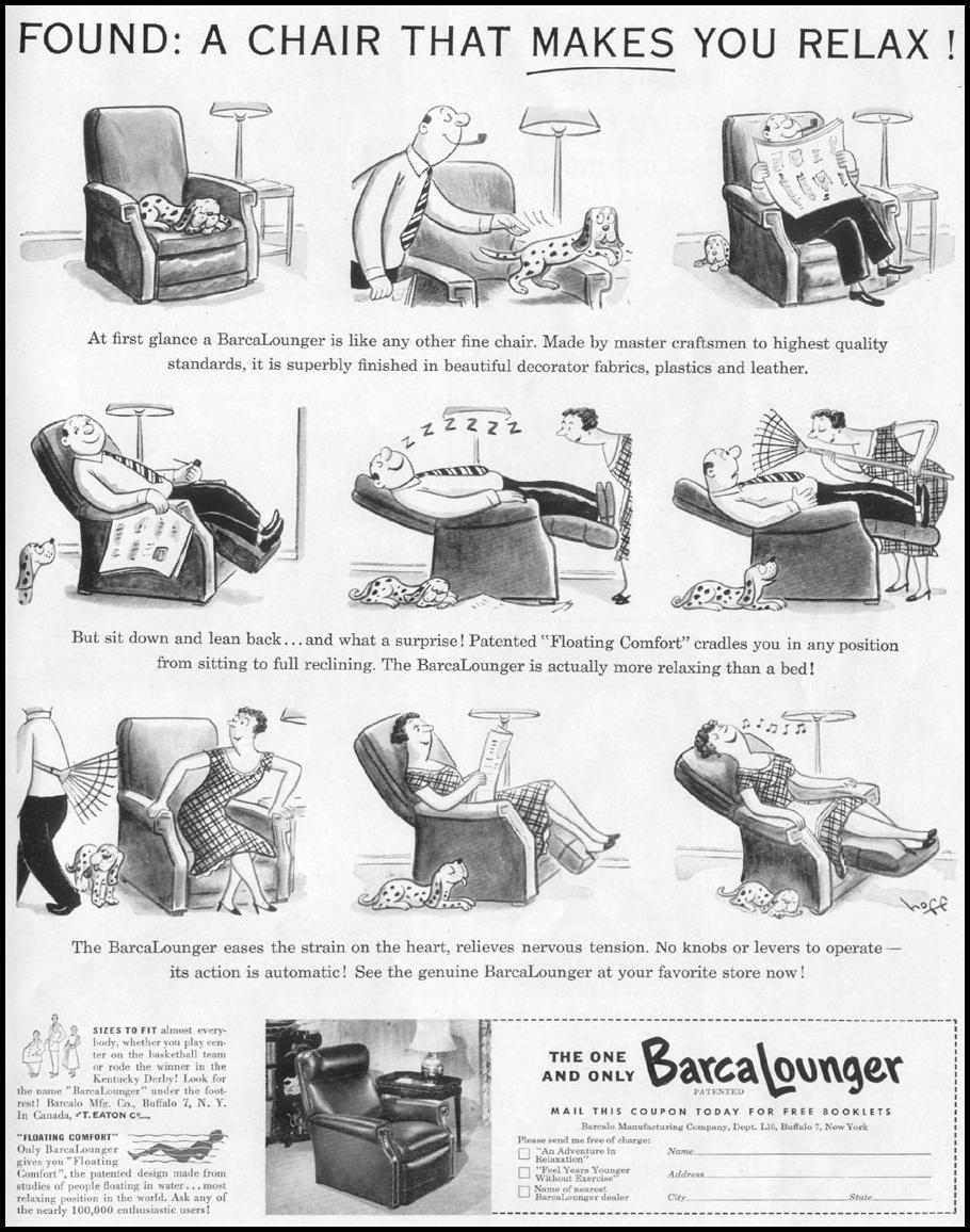 BARCALOUNGER LIFE 10/13/1952 p. 143