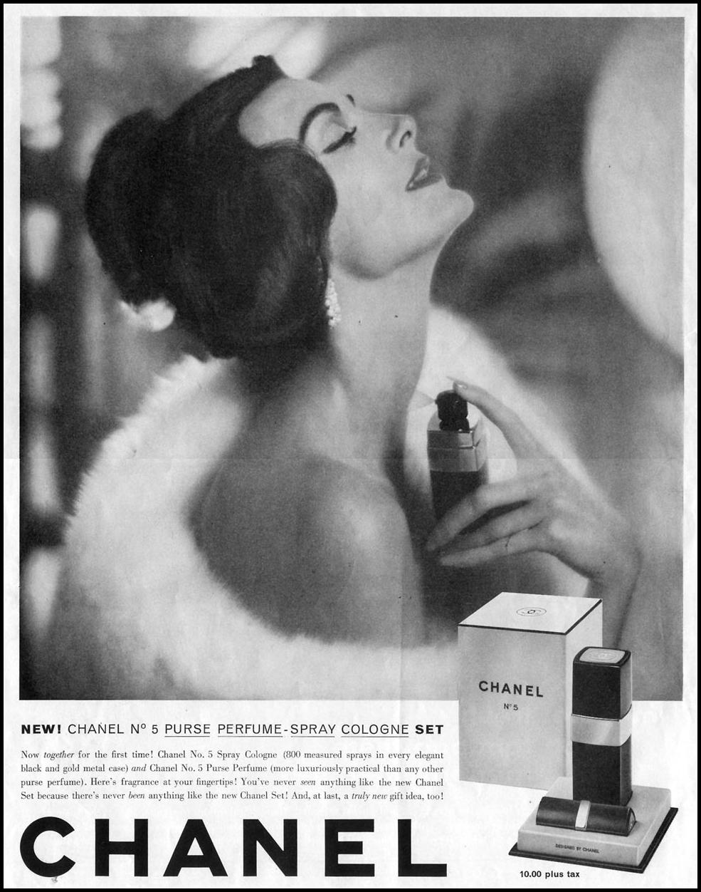 CHANEL NO. 5 PURSE PERFUME - SPRAY COLOGNE SET SATURDAY EVENING POST 05/02/1959 p. 12