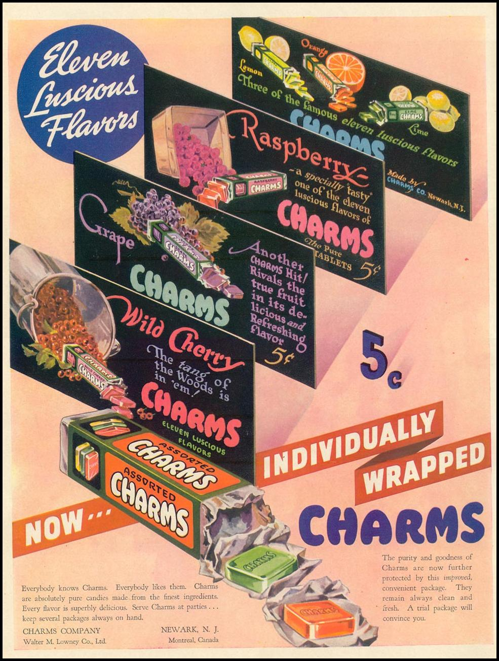 CHARMS CANDIES LIFE 09/13/1937