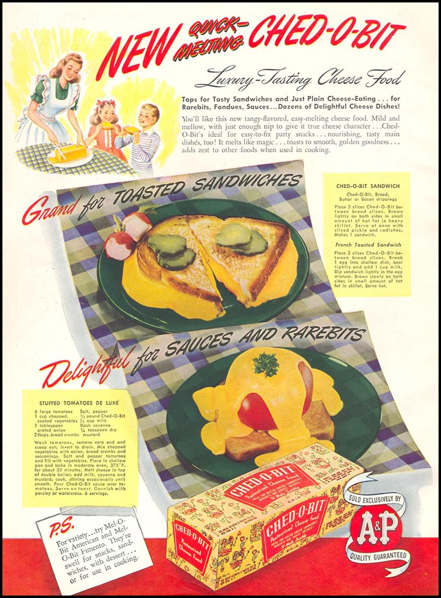 CHED-O-BIT CHEESE FOOD WOMAN'S DAY 07/01/1945 INSIDE FRONT