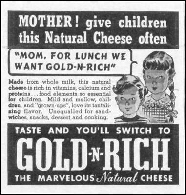 GOLD-N-RICH CHEESE WOMAN'S DAY 05/01/1941 p. 76