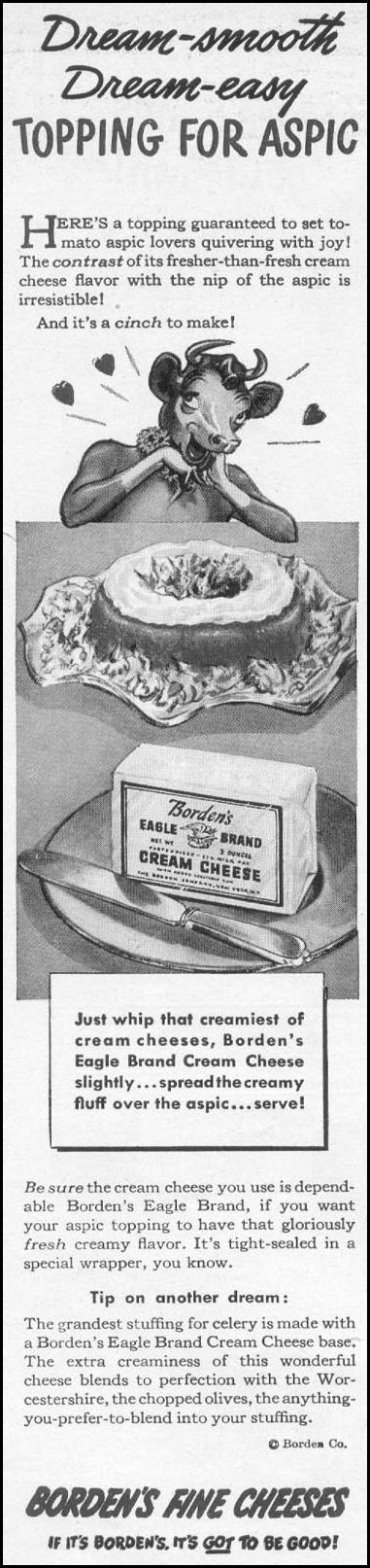BORDEN'S EAGLE BRAND CREAM CHEESE WOMAN'S DAY 06/01/1946 p. 15