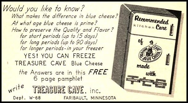 TREASURE CAVE BLUE CHEESE WOMAN'S DAY 06/01/1958 p. 93