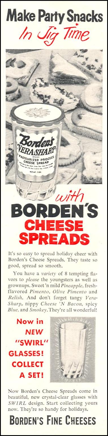 BORDEN'S VERA-SHARP PASTEURIZED PROCESS CHESSE SPREADS WOMAN'S DAY 12/01/1954 p. 107
