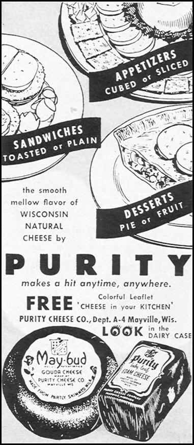 PURITY WISCONSIN NATURAL CHEESE WOMAN'S DAY 12/01/1954 p. 133
