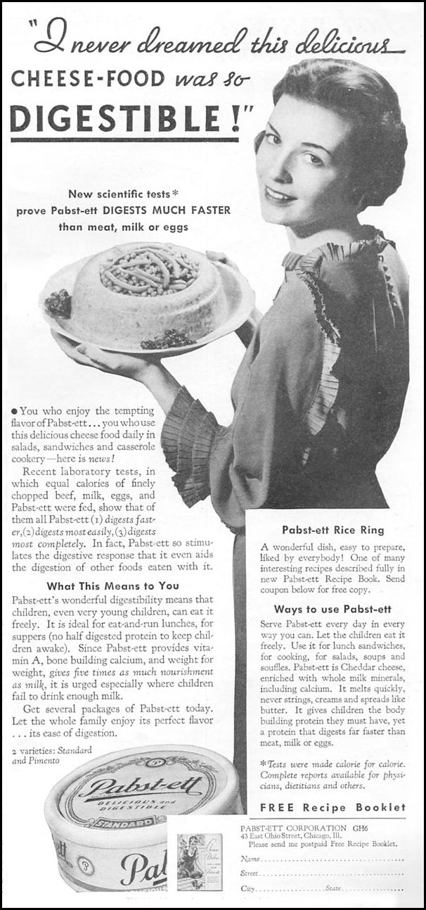 PABST-ETT CHEESE FOOD GOOD HOUSEKEEPING 06/01/1935 p. 155