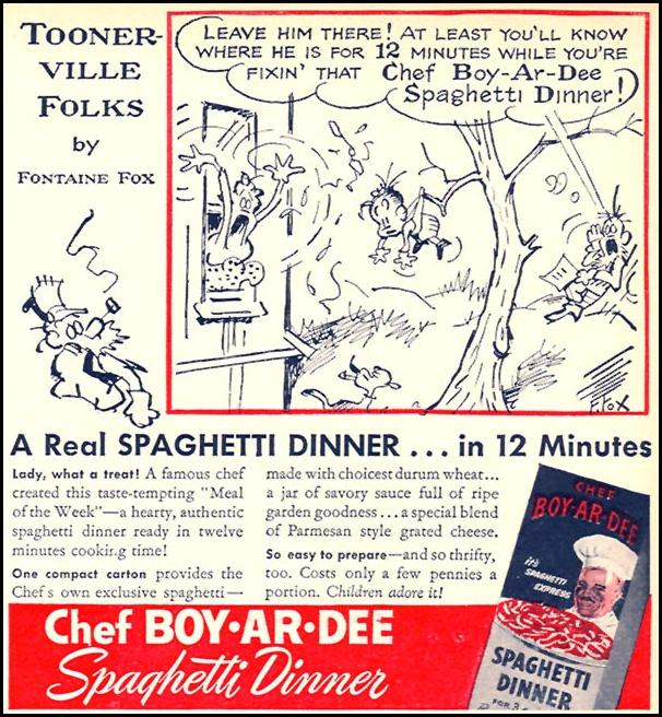 CHEF BOY-AR-DEE SPAGHETTI DINNER WOMAN'S DAY 04/01/1946 p. 77