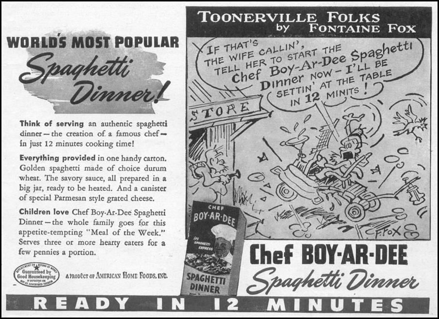 CHEF BOY-AR-DEE SPAGHETTI DINNER WOMAN'S DAY 06/01/1946 p. 9