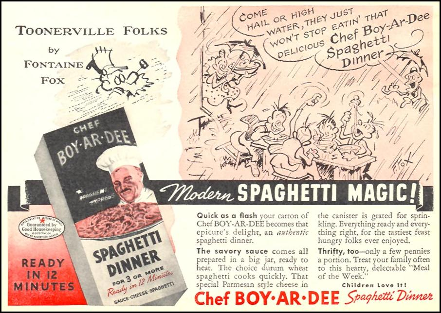 CHEF BOY-AR-DEE SPAGHETTI DINNER WOMAN'S DAY 10/01/1946 p. 75