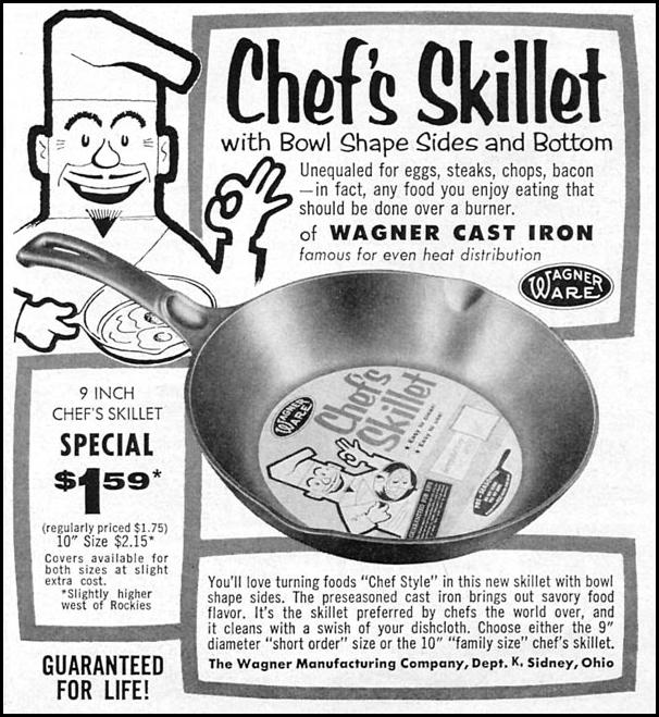 WAGNER WARE CAST IRON CHEF'S SKILLET WOMAN'S DAY 10/01/1956 p. 127