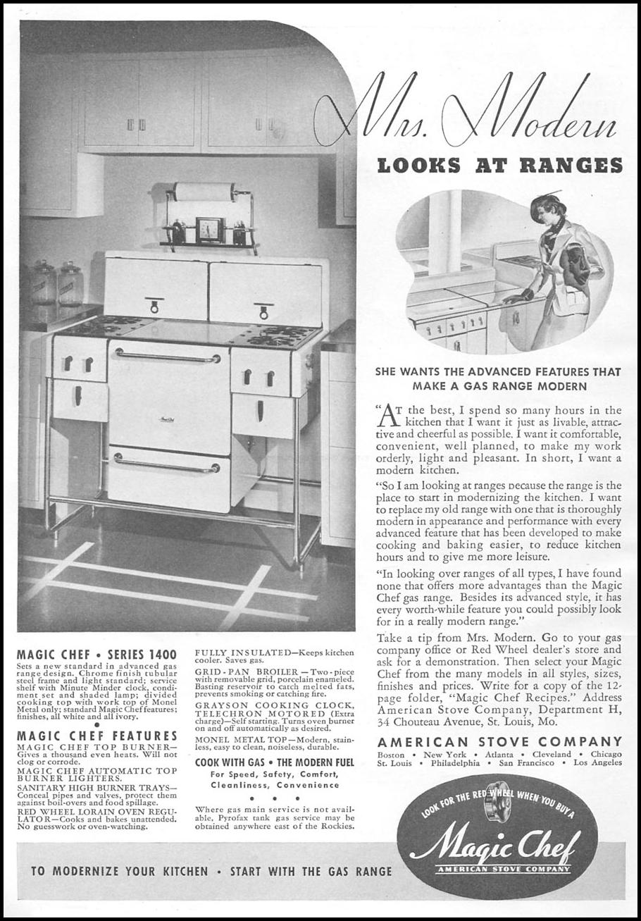 MAGIC CHEF STOVES AND RANGES GOOD HOUSEKEEPING 04/01/1936 p. 194