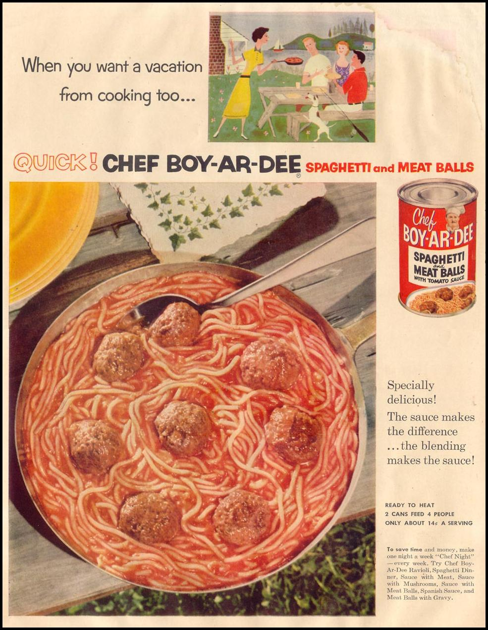 CHEF BOY-AR-DEE SPAGHETTI AND MEAT BALLS LIFE 08/17/1953 p. 38