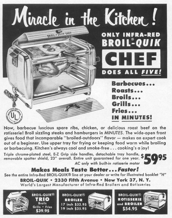 INFRA-RED BROILERS AND ROTISSERIES LIFE 10/13/1952 p. 166