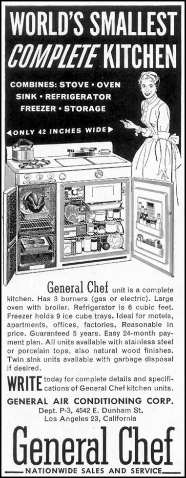 GENERAL CHEF KITCHEN SATURDAY EVENING POST 02/05/1955 p. 74