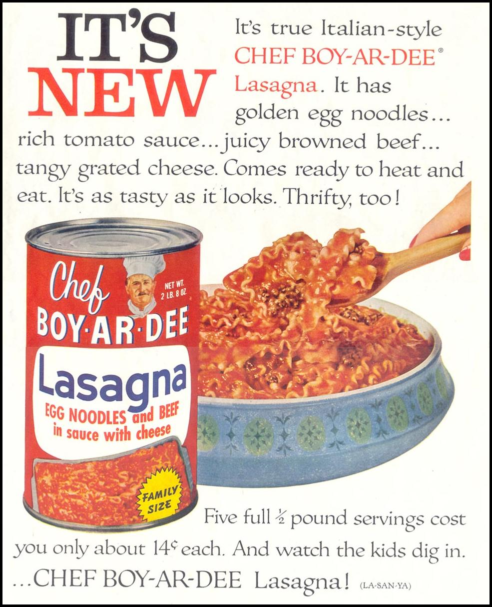 CHEF BOY-AR-DEE LASAGNA SATURDAY EVENING POST 05/02/1959