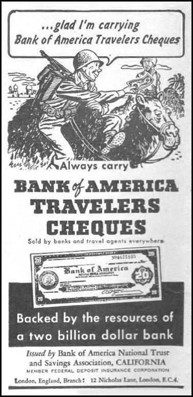 BANK OF AMERICA TRAVELERS CHEQUES LIFE 06/22/1942 p. 98