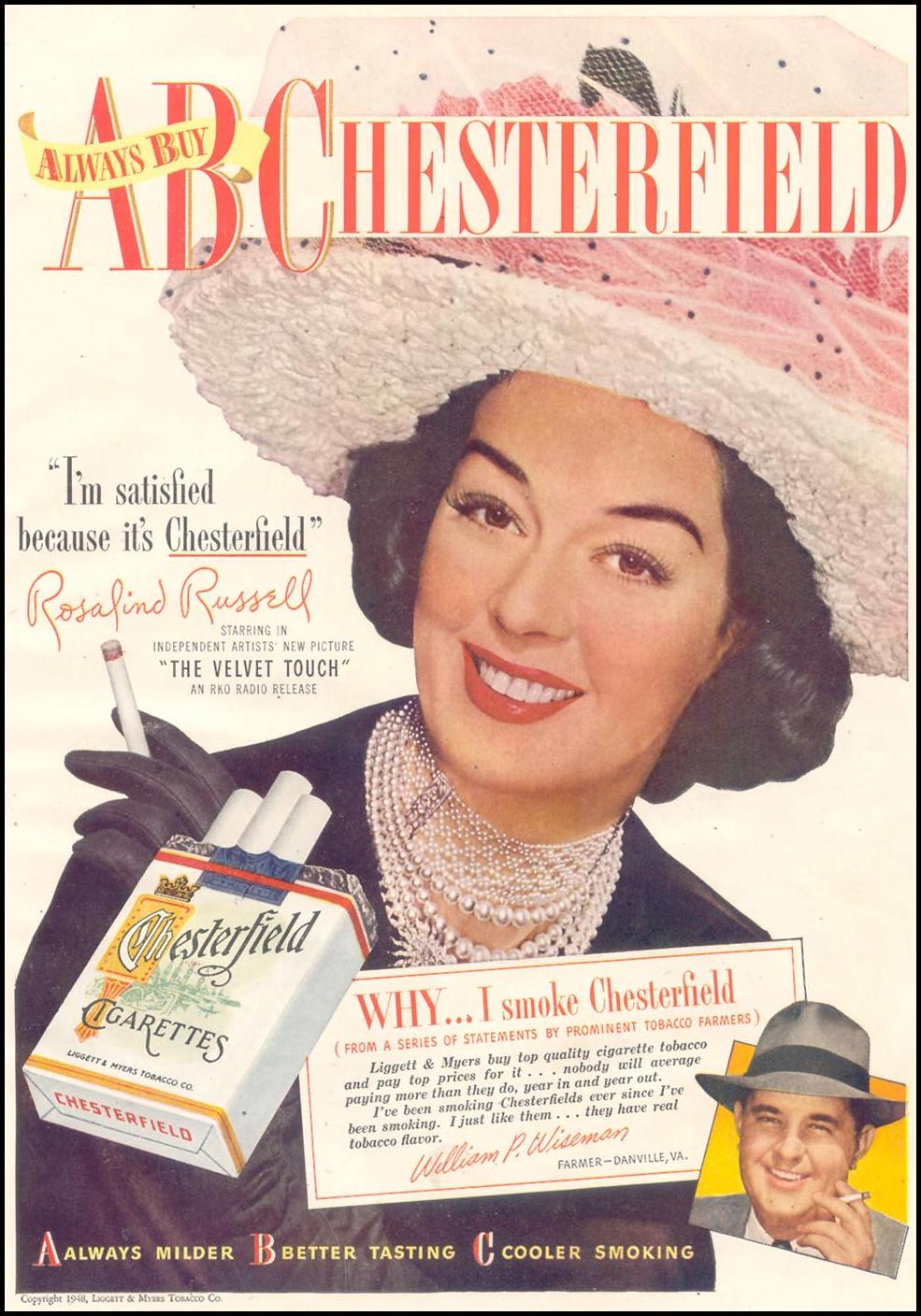 CHESTERFIELD CIGARETTES GOOD HOUSEKEEPING 07/01/1948