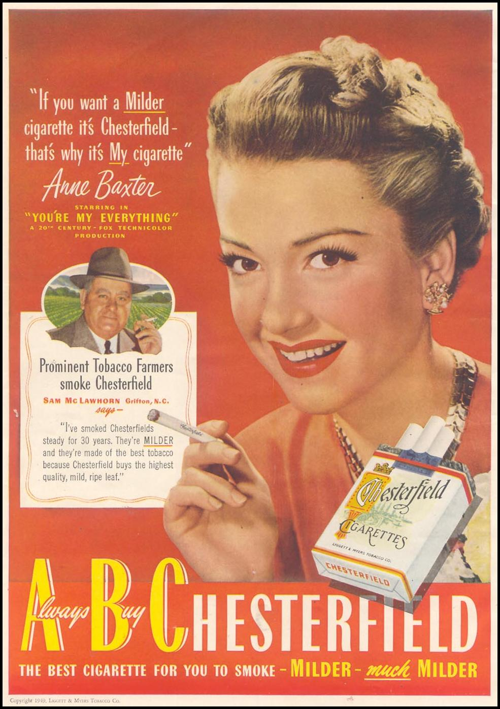 CHESTERFIELD CIGARETTES GOOD HOUSEKEEPING 07/01/1949