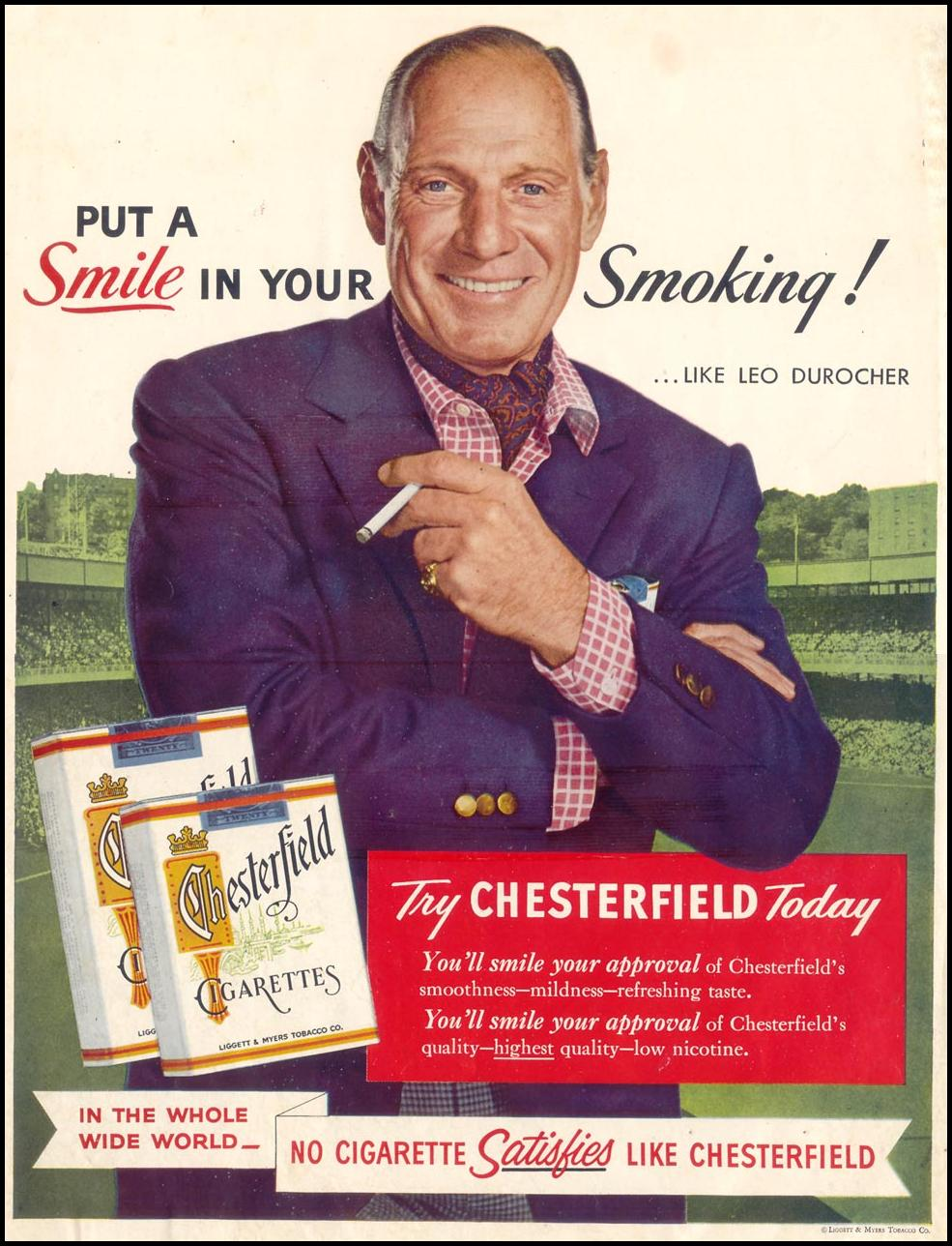 CHESTERFIELD CIGARETTES SATURDAY EVENING POST 03/26/1955 INSIDE FRONT