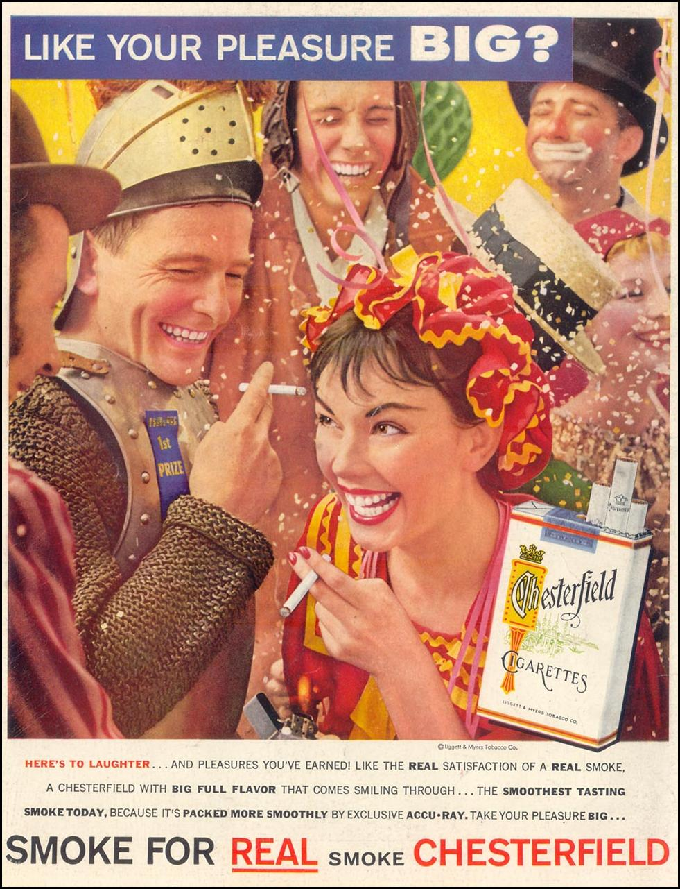 CHESTERFIELD CIGARETTES LIFE 01/21/1957 BACK COVER