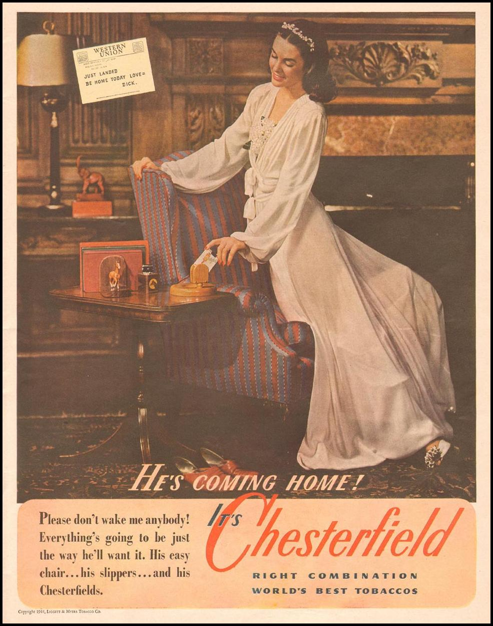 CHESTERFIELD CIGARETTES LIFE 11/13/1944 p. 39