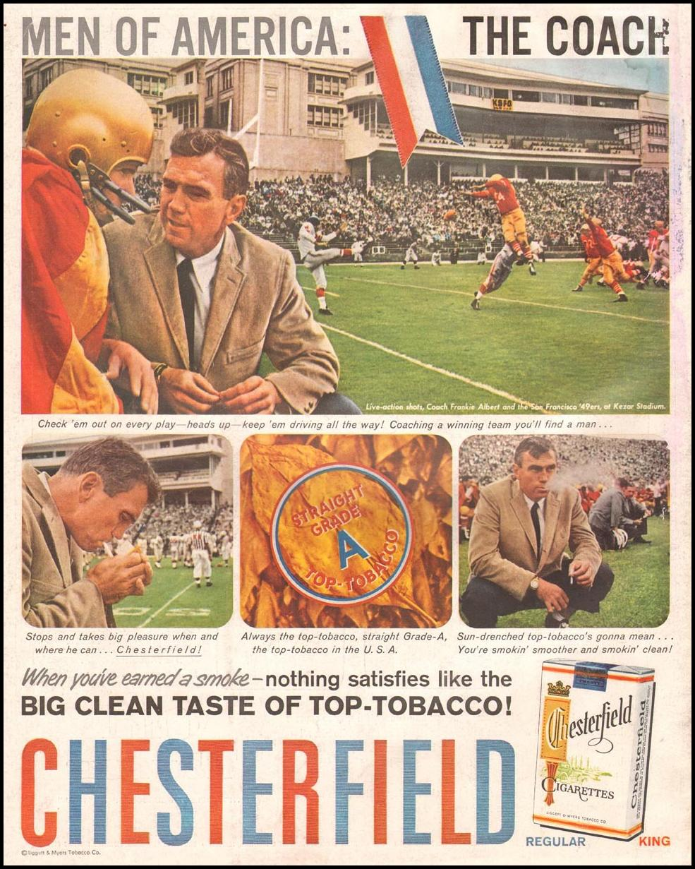 CHESTERFIELD CIGARETTES LIFE 11/24/1957 BACK COVER