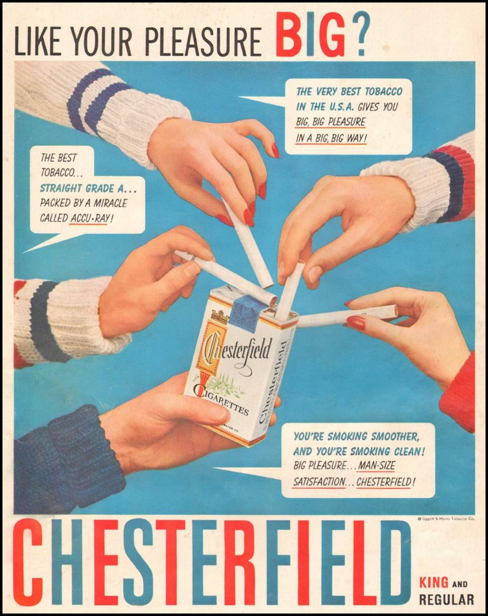 CHESTERFIELD CIGARETTES LOOK 10/29/1957 BACK COVER