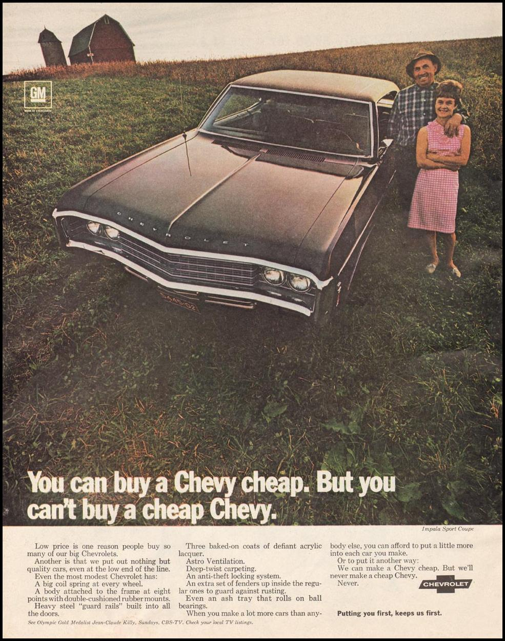 CHEVROLET AUTOMOBILES SATURDAY EVENING POST 02/08/1969 p. 18
