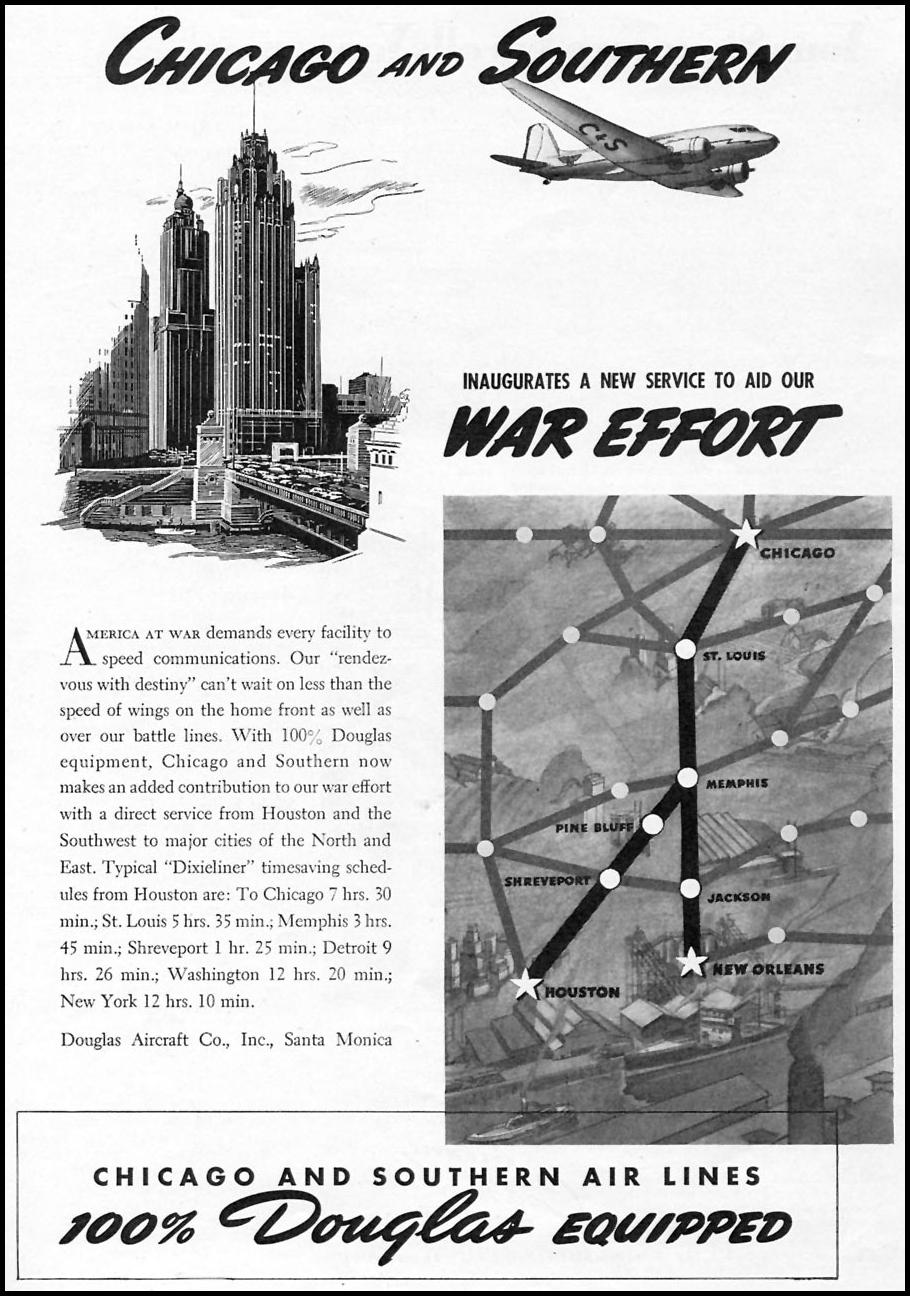 CHICAGO AND SOUTHERN AIR LINES TIME 02/16/1942 p. 51
