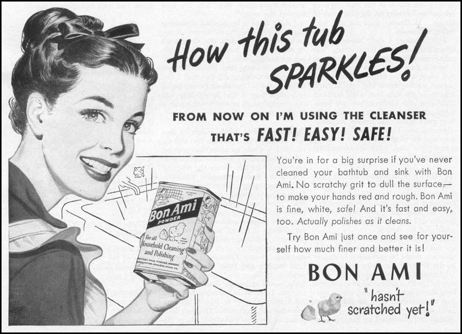 BON AMI HOUSEHOLD CLEANSER WOMAN'S DAY 10/01/1949 p. 93