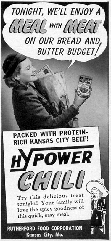 HYPOWER BRAND CHILI CON CARNE WOMAN'S DAY 03/01/1949 p. 121