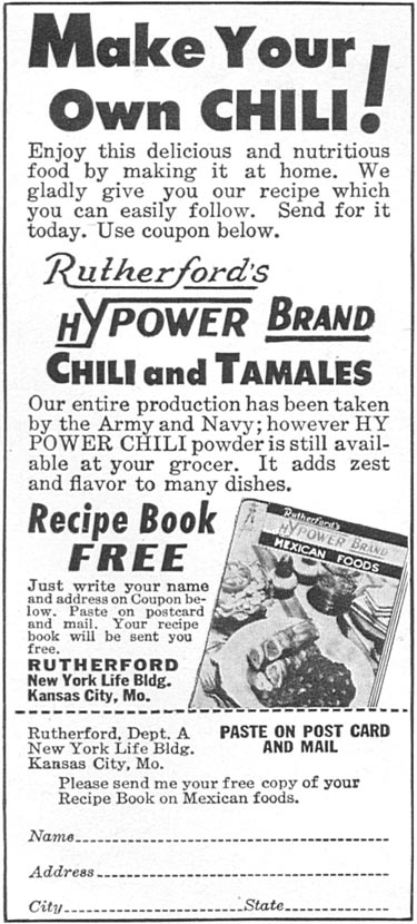 RUTHERFORD'S HYPOWER BRAND CHILI AND TAMALES WOMAN'S DAY 04/01/1943 p. 68