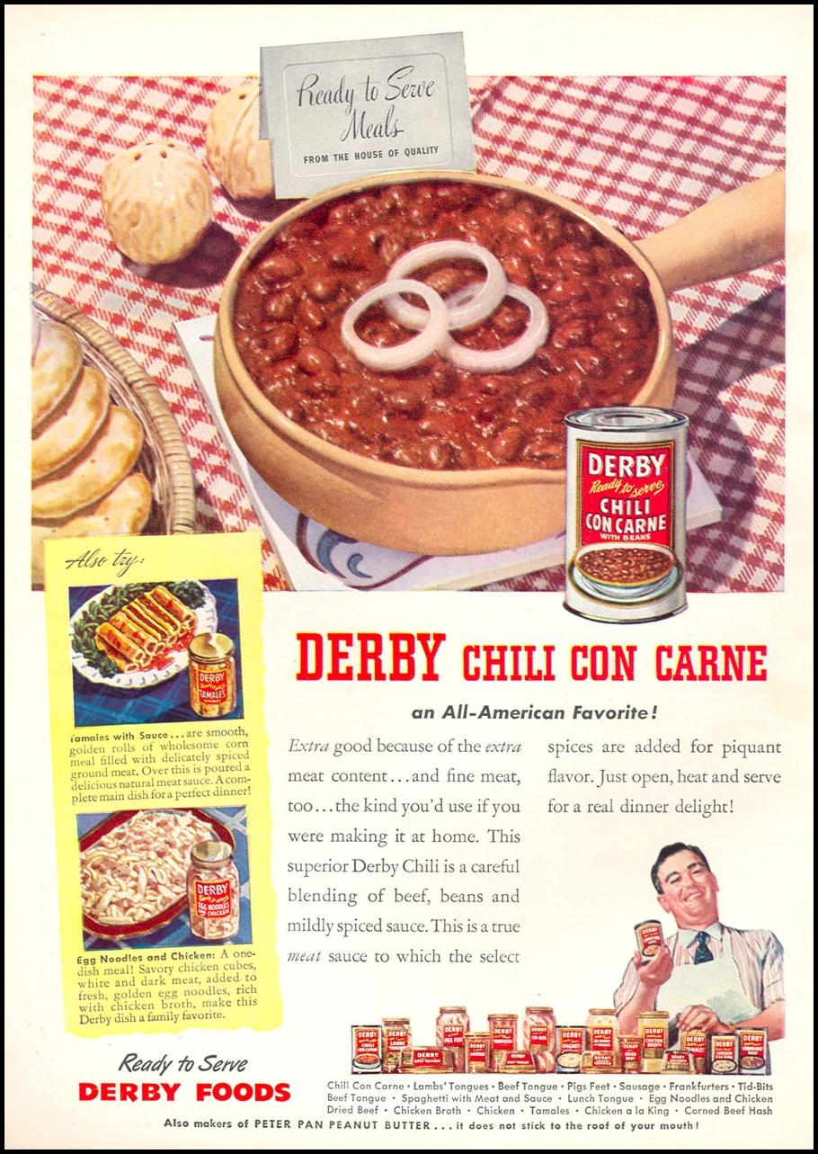 DERBY CHILI CON CARNE WOMAN'S DAY 04/01/1946 INSIDE FRONT