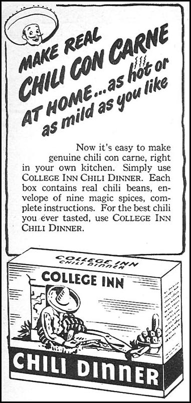 COLLEGE INN CHILI DINNER WOMAN'S DAY 04/01/1946 p. 81
