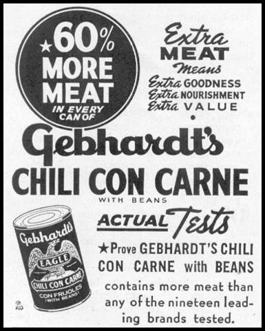 GEBHARDT'S CHILI CON CARNE WOMAN'S DAY 10/01/1939 p. 44