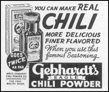 GEBHARDT'S EAGLE CHILI POWDER WOMAN'S DAY 11/01/1938 p. 48