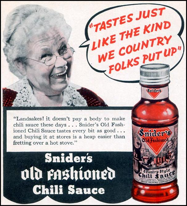 SNIDER'S OLD FASHIONED CHILI SAUCE WOMAN'S DAY 11/01/1940 p. 2