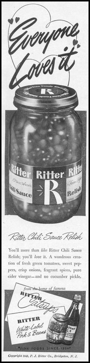 RITTER CHILI SAUCE RELISH WOMAN'S DAY 12/01/1948 p. 70