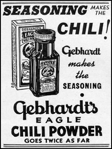 GEBHARDT'S EAGLE CHILI POWDER GOOD HOUSEKEEPING 01/01/1940 p. 48