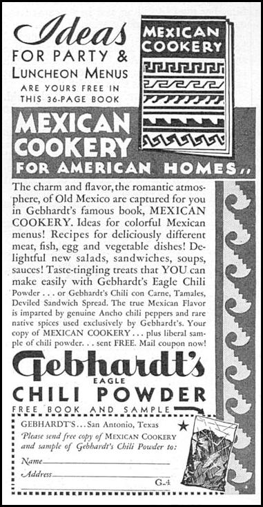 GEBHARDT'S EAGLE CHILI POWDER GOOD HOUSEKEEPING 12/01/1934 p. 201