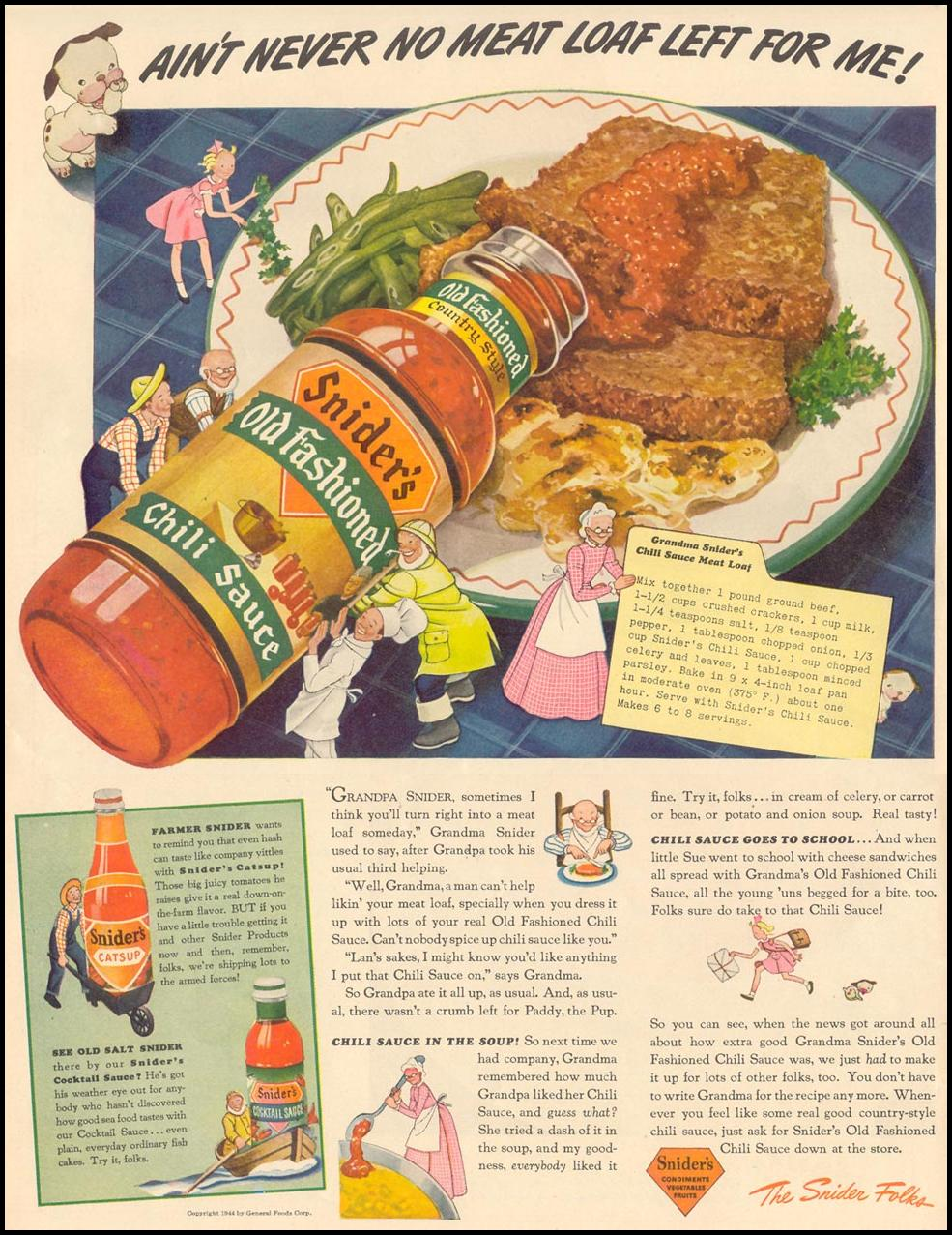 SNIDER'S OLD FASHIONED CHILI SAUCE LIFE 02/28/1944