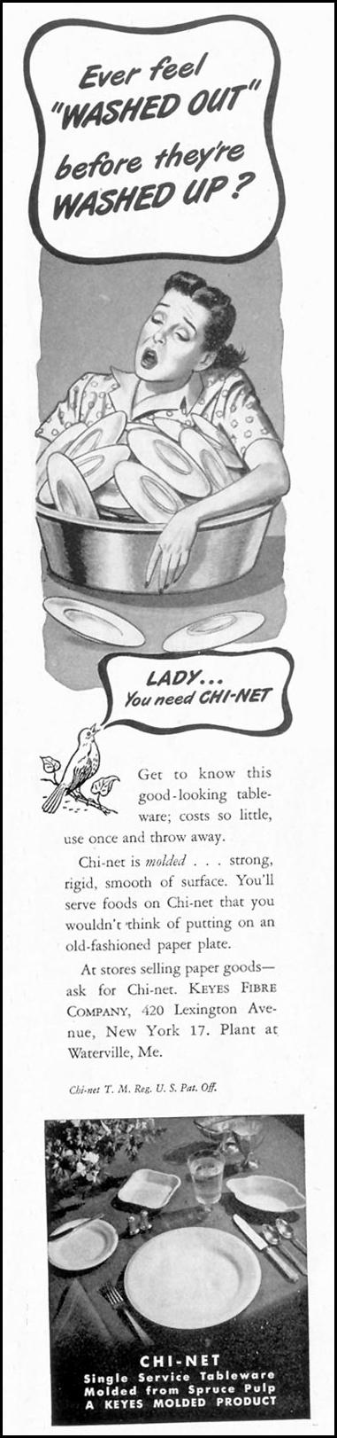 CHI-NET PAPER PLATES SATURDAY EVENING POST 05/19/1945 p. 61