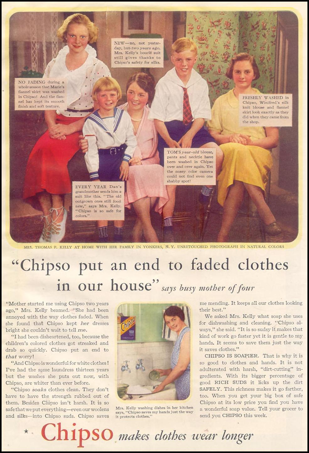 CHIPSO SOAP FLAKES GOOD HOUSEKEEPING 11/01/1933