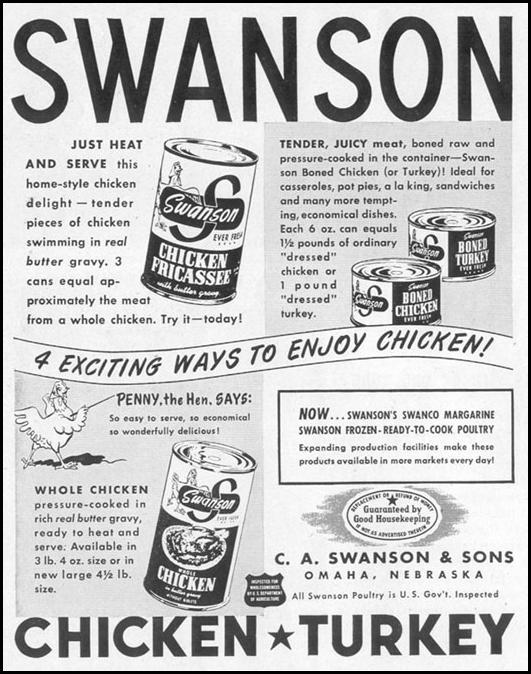 SWANSON CANNED CHICKEN AND TURKEY LIFE 10/11/1948 p. 54