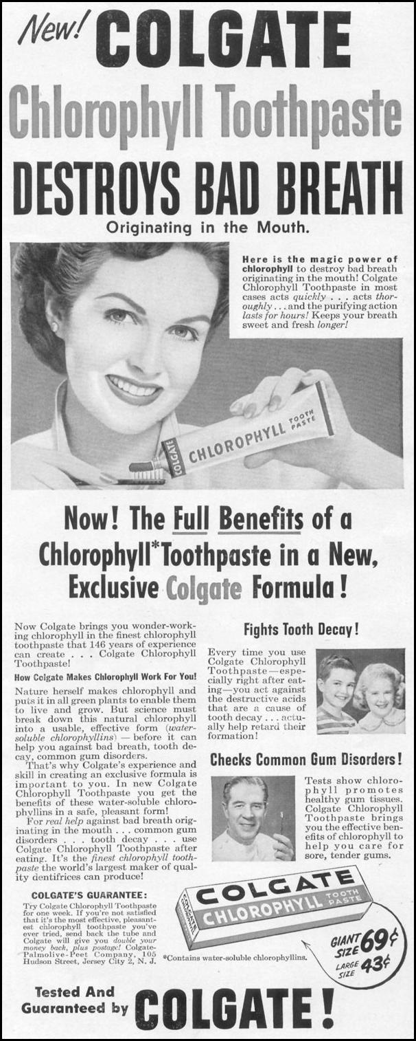 COLGATE CHLOROPHYLL TOOTHPASTE LIFE 10/13/1952 p. 61