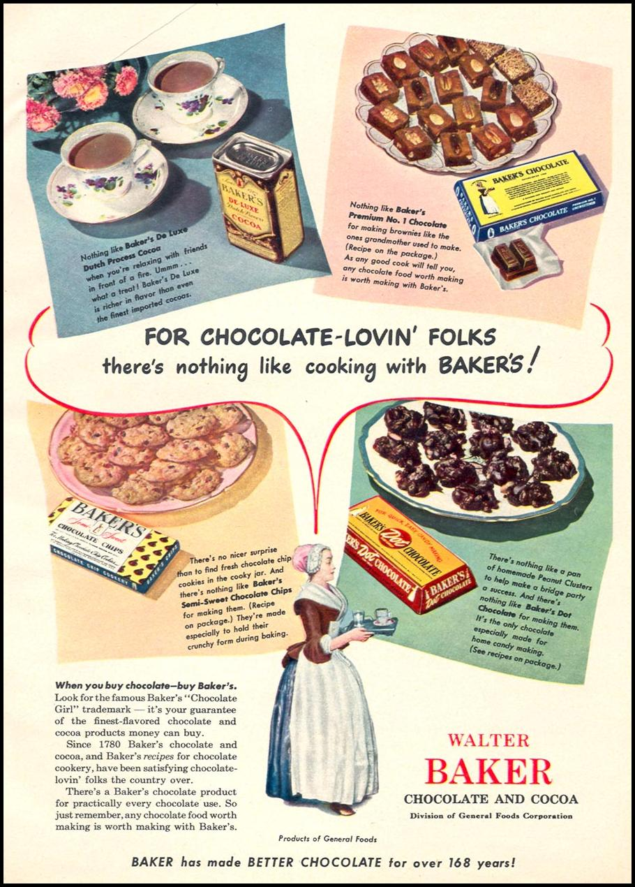 WALTER BAKER CHOCOLATE & COCOA WOMAN'S DAY 12/01/1948 p. 59